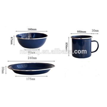 Weiß / schwarz / blau Emaille Becher / Emaille Platte / Emaille Becher