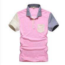 Kundenspezifisches rosa einfaches Polo-Hemd für Großverkauf, Polo-Hemd mit Tasche
