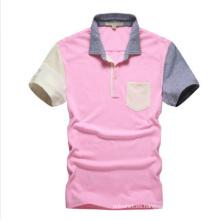 Polo liso rosado de encargo para la venta al por mayor, polo con el bolsillo