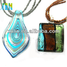 hand blown fused glass pendant dichroic glass necklace