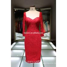 Mais recentes vestidos de manga longa vestido de renda vermelha vestidos de noite 2016