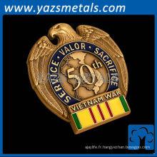 Monnaies personnalisées en métal, badges à emboîtement sur mesure en forme d'aigle