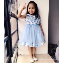 floral lgiht azul flores llenas top vestidos de tul suave de clase alta niños clásico cumpleaños vida teatral ropa vestidos niñas