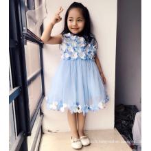 floral lgiht bleu plein fleurs robes top tulle doux classe élevée enfants classique anniversaire salon théâtre vêtements robes filles