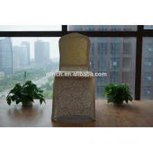 Metallic gold patterns spandex chair cover for banquet