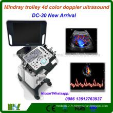 DC-30 Dernières Mindray Trolley CW fonction 4d couleur doppler échographie machine / 4d échographie scanner