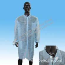 Disposable Nonwoven PP Lab Coat Medical Clothes, Dust Coat with Elastic Cuff