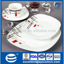 best quality supper white porcelain ceramic dinnerware with classic geometric pattern