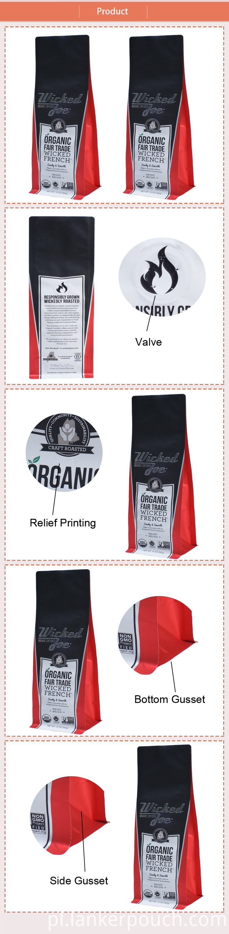 Plastic Bag Custom 12oz Coffee Aluminium Packaging
