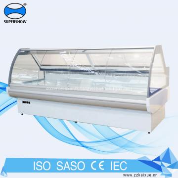 vitrine de réfrigérateur de comptoir de service à porte coulissante en verre