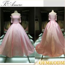 2017 Pink A vestido de vestido de vestido de bola de comprimento do assoalho de linha