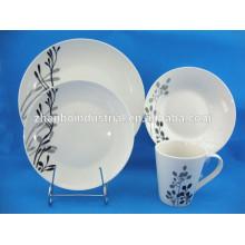 Vaisselle à vaisselle avec décalque, vaisselle à fleurs en porcelaine