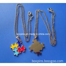 Austim Puzzle Metal Necklace, Austim Awareness Heart Metal Chain Necklace
