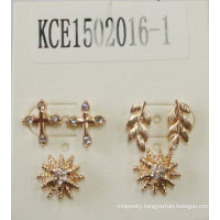 Leaves Flower Set Earrings with Metal and Gems