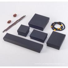 Caixa de papel de joias preta com espuma preta