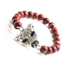 Red Jasper 8MM Round Beads Stretch Gemstone Bracelet with Diamante alloy leopard head Piece