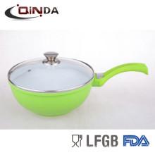 Poêle à frire moulée en porcelaine de Chine, écologique, avec base en bois