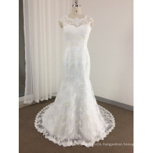 Mermaid Illusion Neck Sparkling Lace Wedding Dress