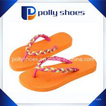 Top Métallique Logo Brésil Femmes Flip Flop Sandales Couleurs Saumon