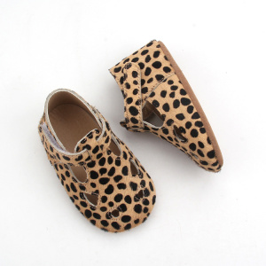 Mo Hair Leopard Soft Leather Baby Casual Shoes