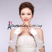 Longitud codo guantes de novia arco grande de encaje guantes de novia fingerless guantes blancos de la boda