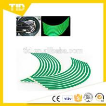 """Garniture de décalque de bande de roue de bande réfléchissante verte de 8mm pour la voiture de moto 16 """"17"""" 18 """""""