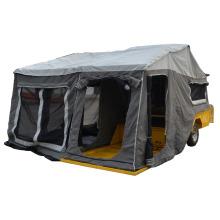 allume la remorque de campeur de topagee avec des portes et des tentes et des fenêtres