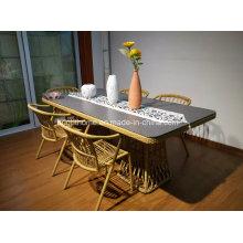 Новый дизайн Современный открытый синтетический стул и столик из ротанга