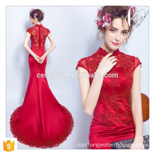 2016 Lady fashion Red Mermaid dinner dress floor length sleeveless slim fitting flare hem sexy formal Mermaid evening dress