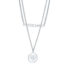 New hollow letters double necklace hip-hop pendant retro Harajuku stainless steel pendant chain accessories