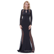 Kate Kasin Sexy Mujer de manga larga Ver-Aunque los puntos de polca de ojo de cerradura negro Long Evening Prom Party Dress KK000208-1