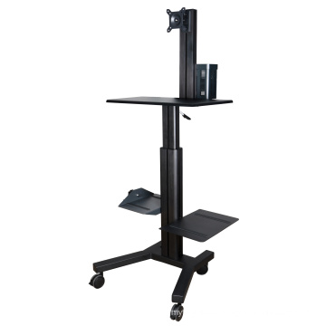"Mobile Computer Workstation Gas Lift/Trolley Single Monitor 10-24"" Adjustable (GAS 1601A)"