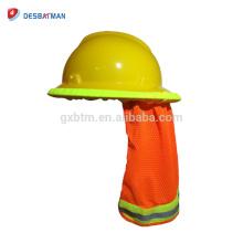Casco de protección de malla de alta visibilidad Casco protector de cuello Casco de sol con banda reflectante y banda elástica Naranja