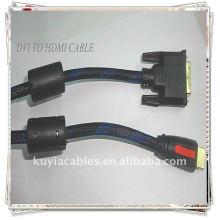 Ouro de alta qualidade chapeado 1,5 m DVI24 + 1 para cabo HDMI macho para nylon masculino 2Ferrit para vídeo padrão, melhorado e de alta definição