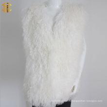 Новый зимний модный оптовый женский белый меховой жилет