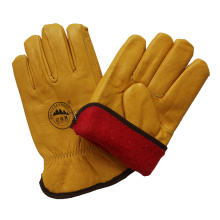 Cow Grain Leather Safety Hand Driver Gloves Winter Warm Gardon Gloves with Full Lining