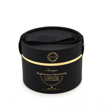 Luxury Matt Gold Foil Logo Round Paper Box