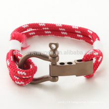 Wholesale Fashion Stainless Steel Rose Gold with Matt Shackle Bracelet Red Rope Bracelets with Men Hook Accessories