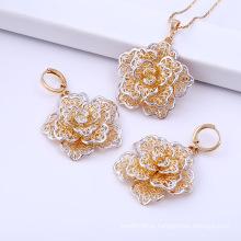 Amostras grátis 18k ouro branco moda flores conjunto de jóias (61602)