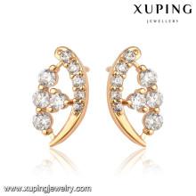 92467 xuping Großhandel einfach gestaltete vergoldete Ohrringe
