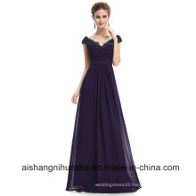 Long Bridesmaid Dresses V Neck Chiffion Sexy Evening Dress