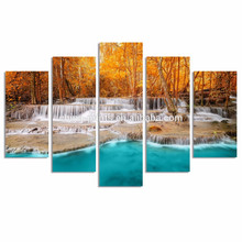 Dreamlike Waterfall in Forest Canvas Print/Autumn Jungle Wall Art/Natural Landscape Canvas Painting