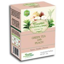 Pêssego aromatizado chá verde pirâmide chá saco superior mistura orgânica e compatível com a UE (ftb1507)