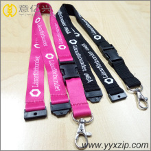 Diy logo detachable plastic buckle smooth lanyard