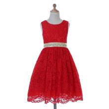 Designer Elfenbein / Rot / Lila Blumenmädchen Kleid für Hochzeit und Zeremoniell