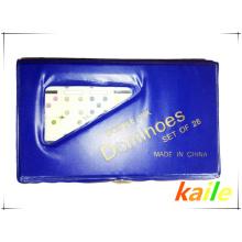 Doble seis domino pequeño con caja de PVC