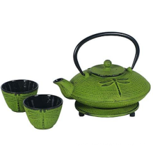 0.8 L Primula/ Dragonfly Cast Iron Green Teapot With 2 Cups And Trivet