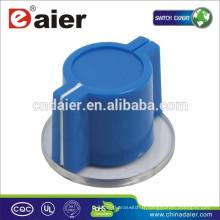 Bouton rotatoire bleu de KN-2618, axe en plastique juxtaposé de 6mm