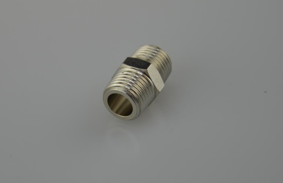 "Air-Fluid Brass Hex Nipple Threaded  1/4"" MPT"