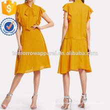 Tie Neck Flutter Sleeve Top & Skirt Set Manufacture Wholesale Fashion Women Apparel (TA4067SS)